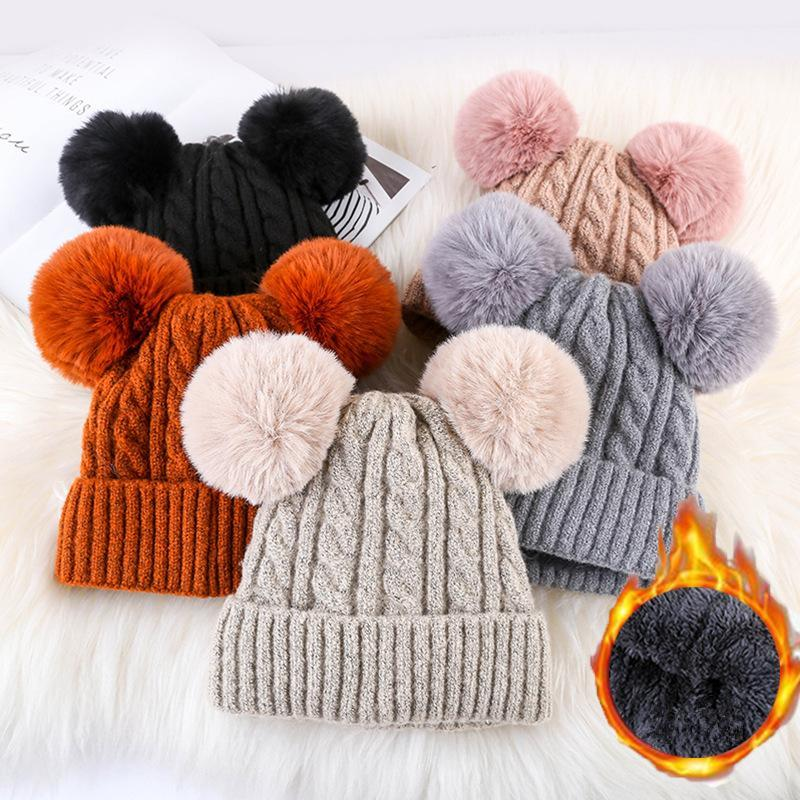 2019 Women Faux Fur Pompom Hat Female Winter Warm Cap Knitted Beanie Girl  Double Ball Pom Pom Hats Woman Bonnet Femme MMA1219 From B2b life a7978b1c87df