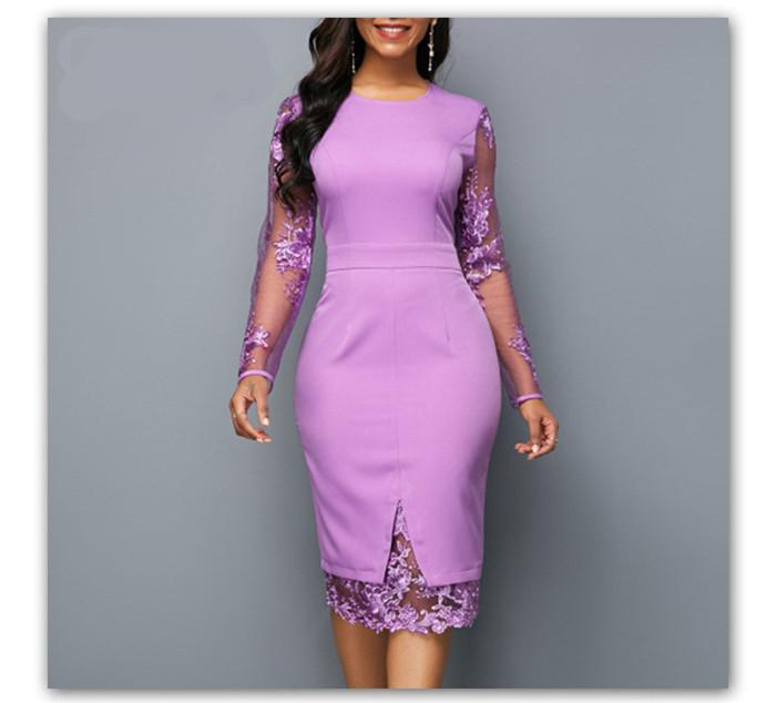 Lace Panelled Solid Designer Bodycon Dresses Sexy Lace Long Sleeve Zipper Dress Fashion Ladies Brief Dresses