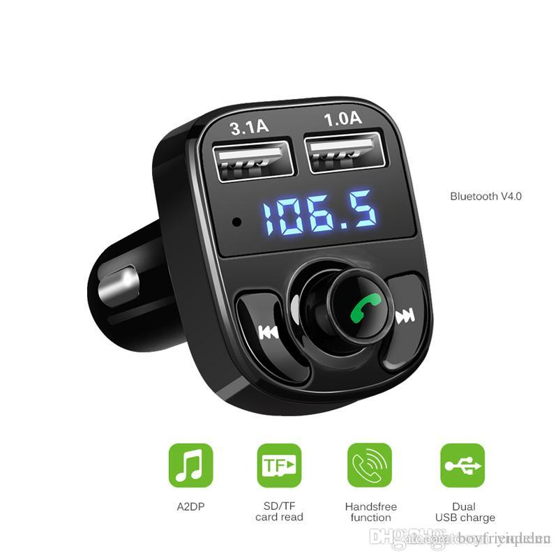 Bluetooth FM Transmitter Car Kit MP3 Player LED Voltage Display Dual USB Car Charger 4.1A Micro SD TF Music Playback