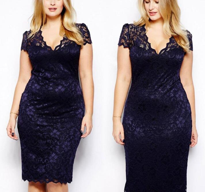 bb14a8086bc DS168 CelebStyle Plus Size M 3XL Big Size Ladies Lace Dress Short Sleeve  Women Floral Crochet Bodycon Party Dreses Navy New Dress As A Woman Long  And Short ...