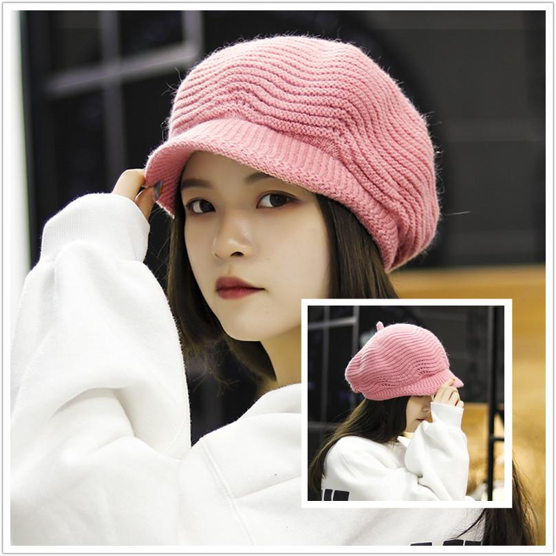 Hat Women S Autumn And Winter Octagonal Hat Knitting Winter Warm Fashion  Beret Korean Version Versatile Rabbit Hair Fitted Caps Knit Hats From  Gwyseller 6c405577413