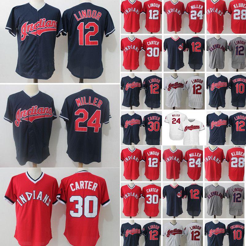 best website 721f8 4eeca Cleveland Indians 10 Edwin Encarnacion 30 Joe Carter Jersey Mens 28 Corey  Kluber Embroidery Baseball Jerseys