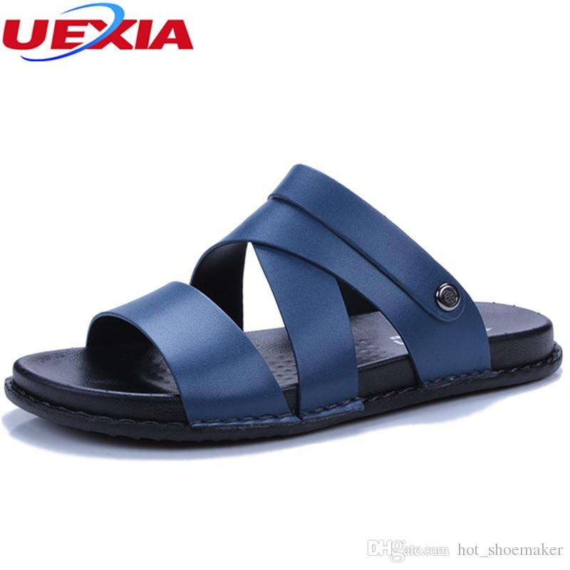 bb60c6c236c76 UEXIA Mens Shoes Pig Leather Men Sandals Summer Men Shoes Beach Breathable  Buckle Gladiator Sandals For Zapatillas Hombre  8210 Sandal Ladies Shoes  From ...