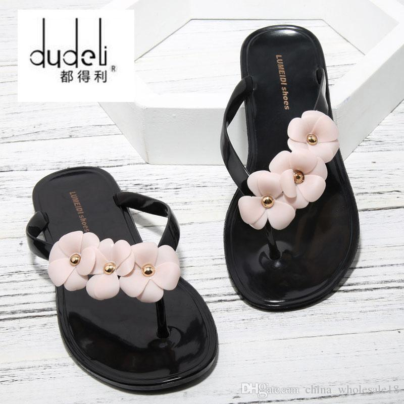 ddefa499 2019 Women Sandals Flats Slipper Shoes Female Flower Flip Flops Floral  Jelly Summer Beach Indoor PVC Supersta Flat Slides From China_wholesale18,  ...