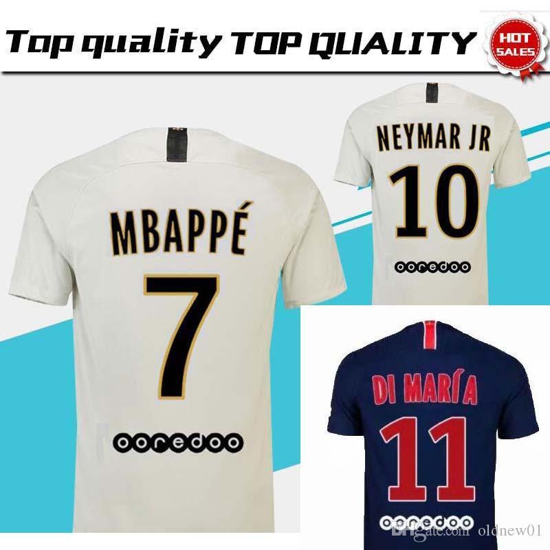 big sale 2c359 533a0 2018 19 top PSG jersey #7 MBAPPE away white Soccer Jersey #10 NEYMAR JR  Soccer Shirt 2019 #9 CAVANI #23 DRAXLER Football Uniform