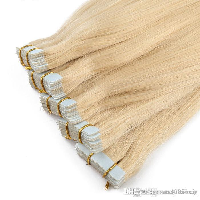 Trama de la piel remy hair pu trama body wave tape extensiones de cabello humano # 613 Bleach Blonde Brazilian Body Wave Hair 14-26 pulgadas