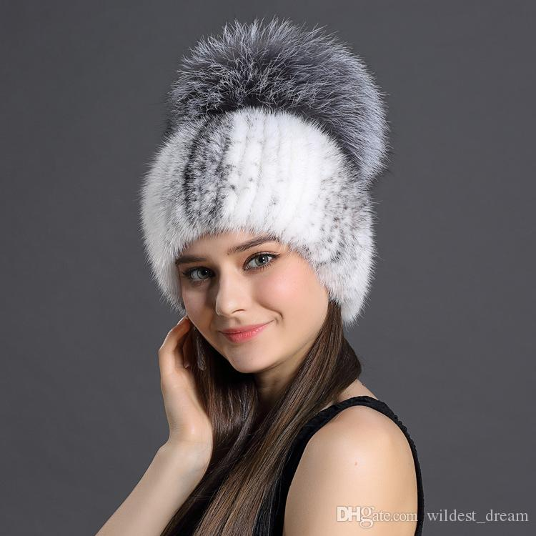8b3a3a4d6ee09 2019 Wholesale Top Quality Lady Fashion Designer Big Fox Fur Hat With Pom  Poms Cheap Women Mink Fur Hat Woven Winter Warm Knitted Cap From  Wildest dream