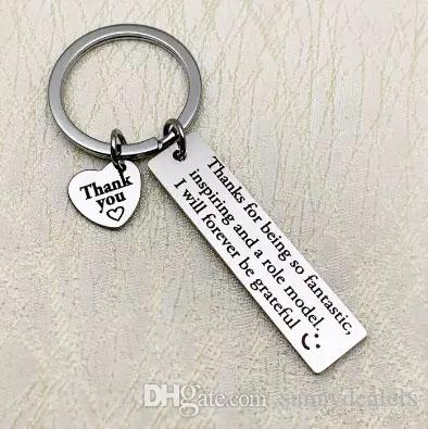 100pcs/lot thank you for being so fantastic keyring stainless steel keychain