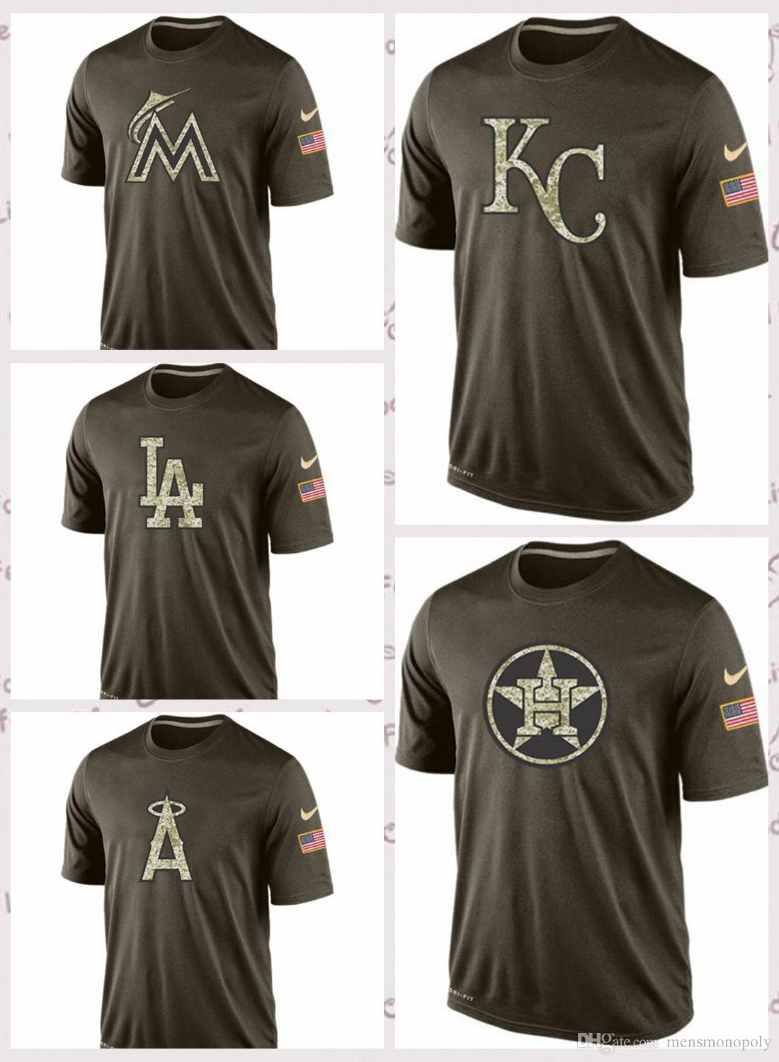 buy popular a3a2f 77dd8 Men's Miami Marlins Houston Astros Kansas City Royals Los Angeles Angels  Los Angeles Dodgers Salute To Service T-Shirt