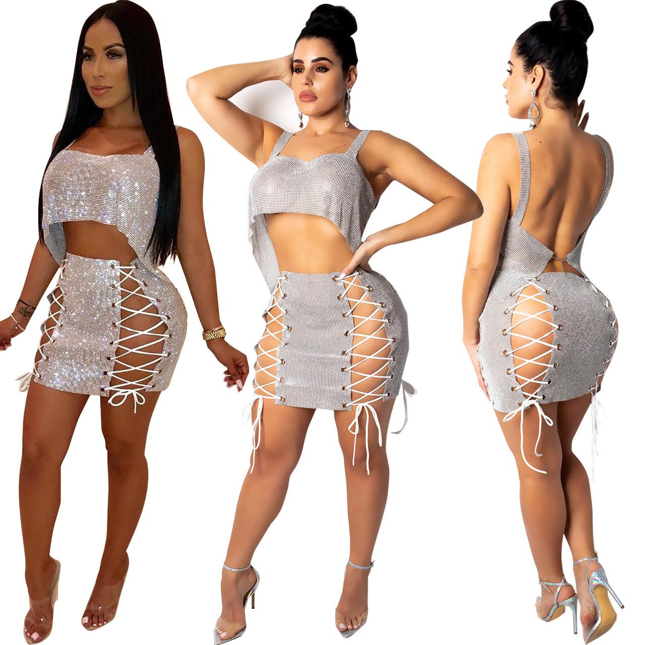 80de4cdf5b Women 2 Piece Outfits Chain Lace Up Sexy Club Two Piece Dresses Bling Short  Crop Sleeveless Vest + Mini Skirt Sets Cocktail Party Outfits