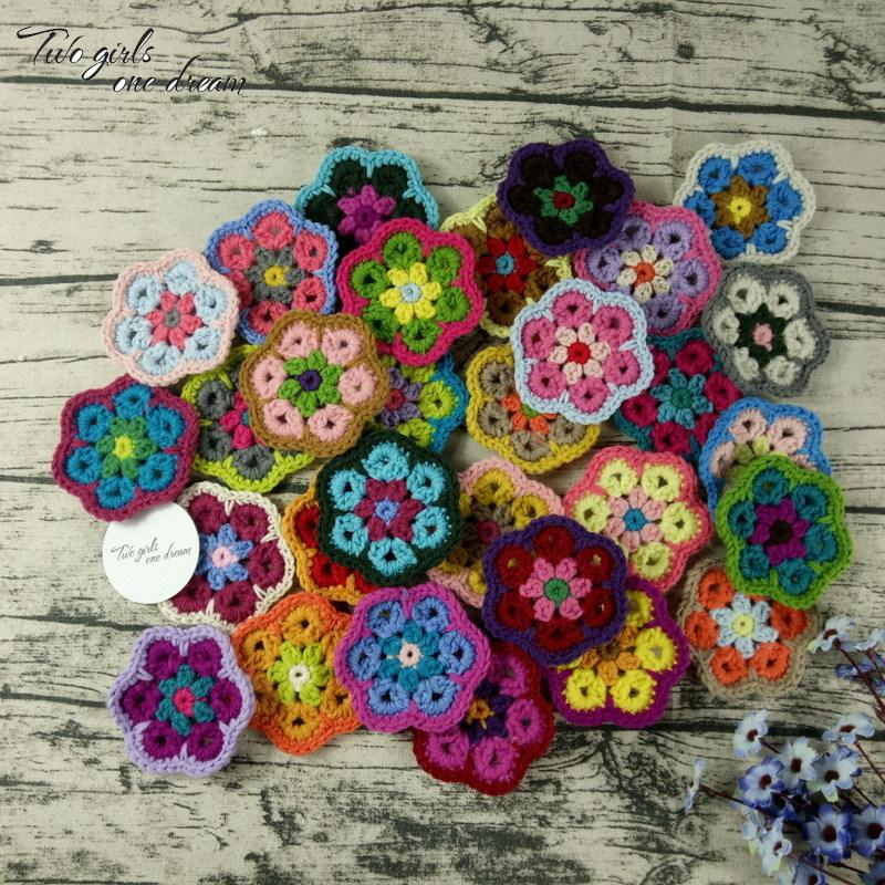 Decoration Crochet Doilies Handmade Crochet Cup Pad Multicolor Flowers Coasters Round Table Mats 8cm Wool Clothes Patch 30pcs/ D19010902