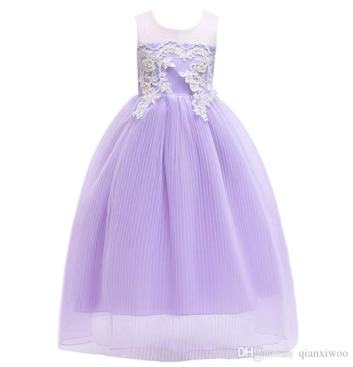 cb17fa9449dff Europe Big Girls Dress Children Embroidery Pleated Gauze Skirt Baby Kids  Tulle Party Dress Girl Lace Ball Gown Tutu Princess Dresses W334