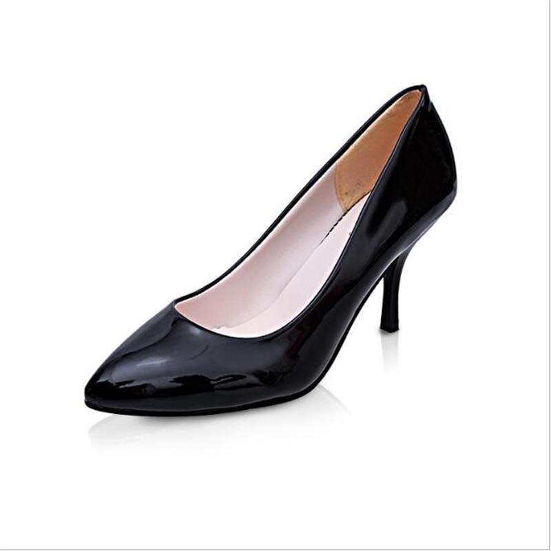 4d6401d68 Compre Designer Dress Shoes 328 Sapato Mulher Primavera Verão Das Mulheres  Da Nova Ponta De Couro Envernizado Boca Raso Coreano De Salto Alto .