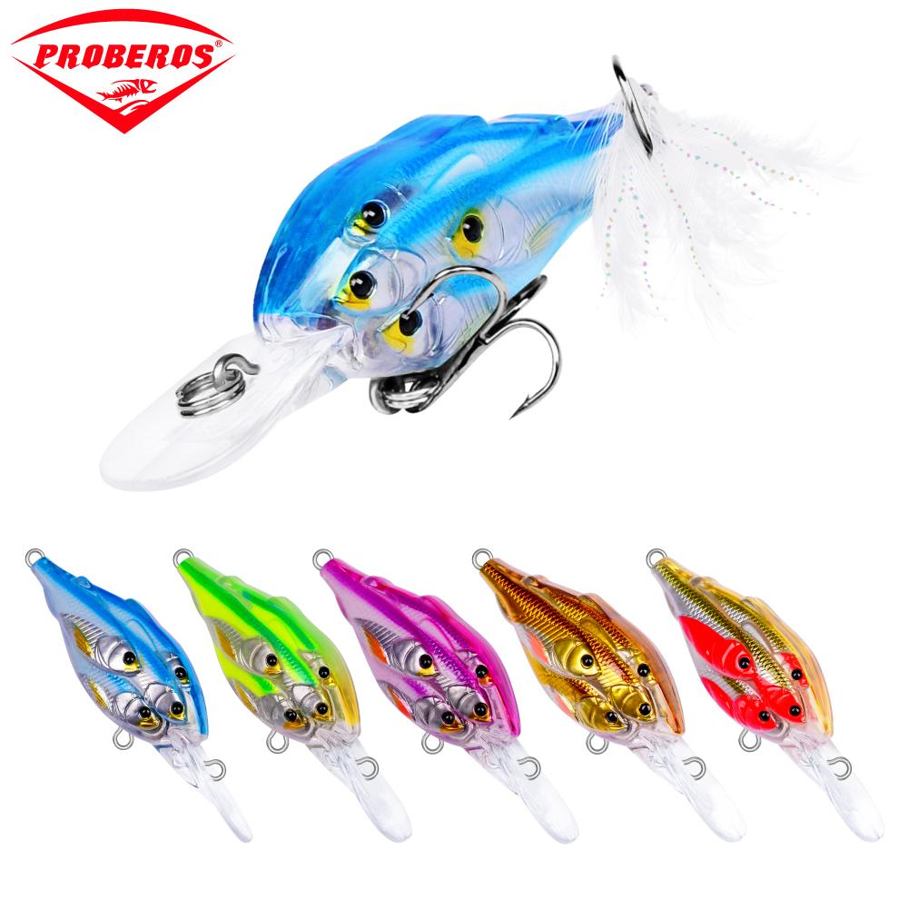 "Lures 5pc Painted Fishing Lures 2.76""-7cm/0.22oz-6.22g Crank Bass Baits with Retail PVC Box Package Fishing Tackle"