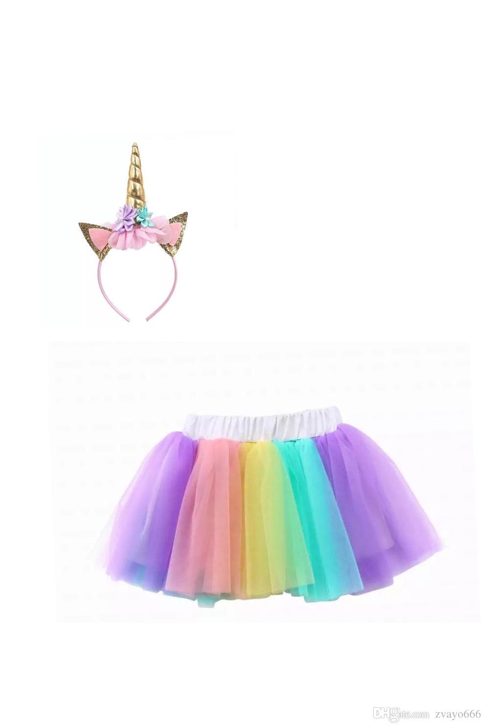 bede469a0d29e 70-90cm Pastel Rainbow Unicorn Tutu Skirt with Headband Children Halloween  Birthday Party Tutu Skirt Baby Kids Tulle Skirt