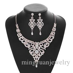 2019 New European and American Rose Gold Set Necklace Earrings with Diamond Jewelry Two Sets for Wedding Garment Dinner Accessories