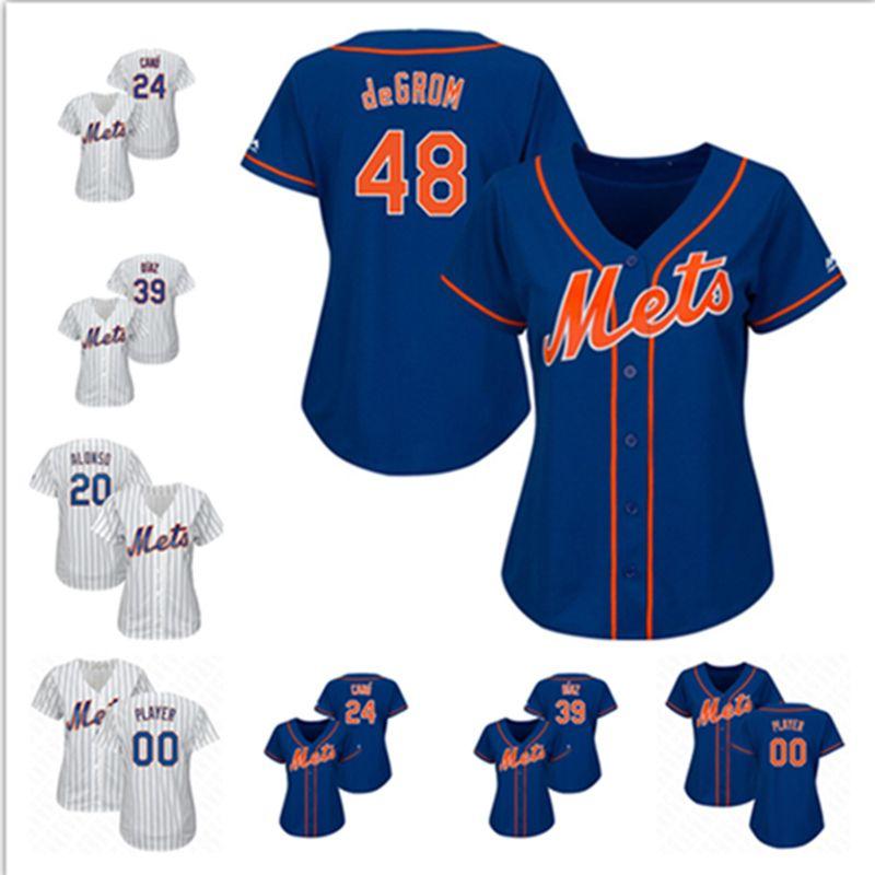 buy popular f4483 da901 Womens Jacob deGrom Pete Alonso Custom NY Mets Jersey Edwin Diaz Robinson  Cano New York Noah Syndergaard Baseball Jerseys