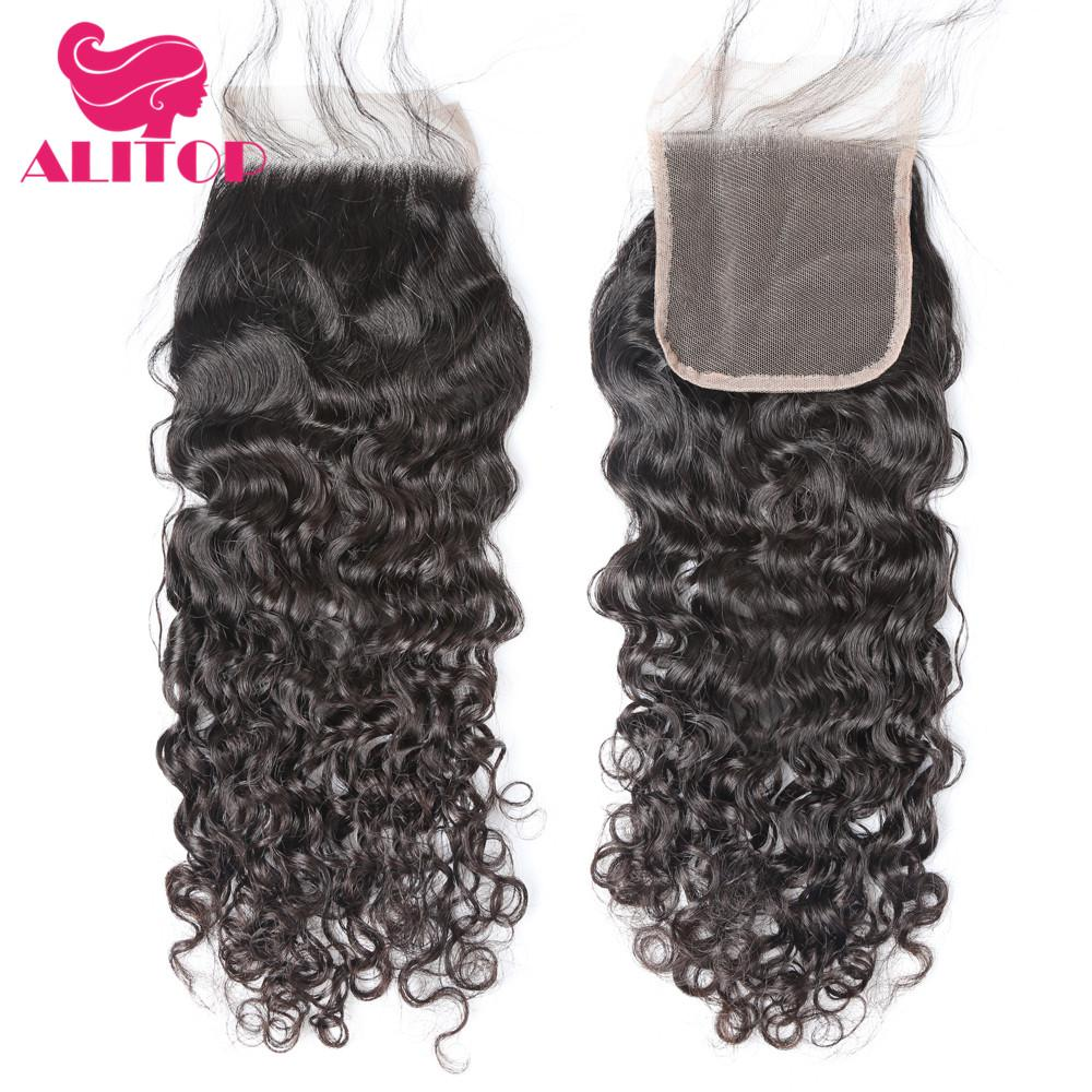 ALITOP Pre Plucked Brazilian Hair Water Wave Frontal Closure Non Remy Human Hair Frontal 4x4 Lace Closure With Baby