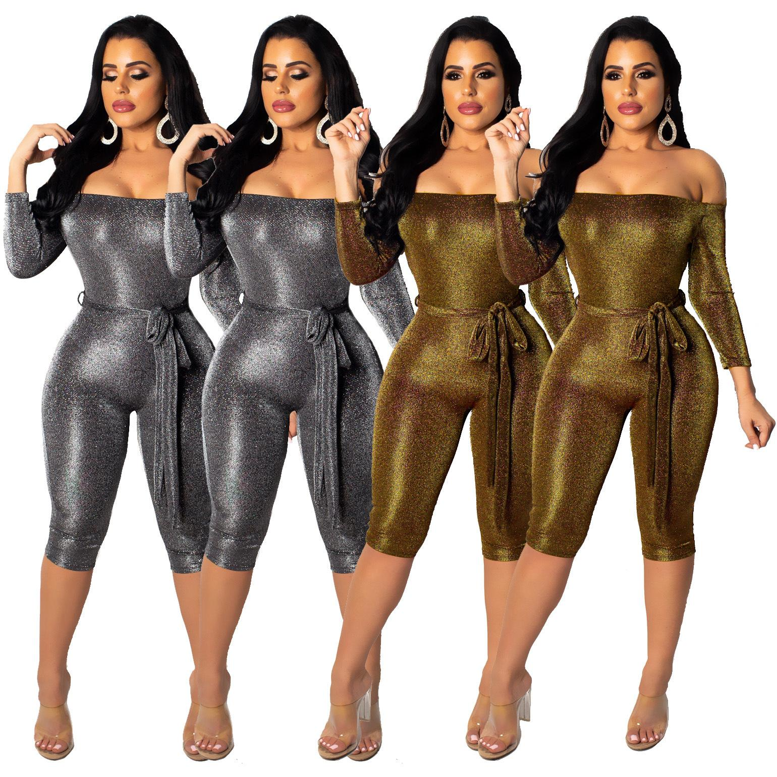 0d88416746dc Metallic Club Short Bodysuits Women Sexy Fashion Bling Slash Neck ...