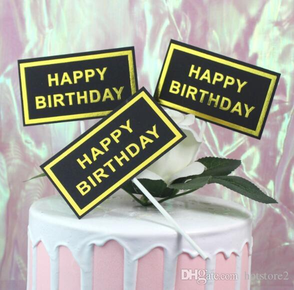 3pcs/set Baking Cake Insert Black Card Hot Stamping Letter Alphabet Happy Birthday Small Square Card Plugin Party Dessert Table Decoration