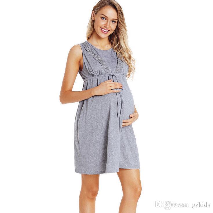 32afc34d4f2d45 Mulheres Maternidade Enfermagem Camisola de Amamentação Pós-parto Tanque  Top Vestido para Maternidade Mulheres Gravatas Mangas Curtas FRETE GRÁTIS