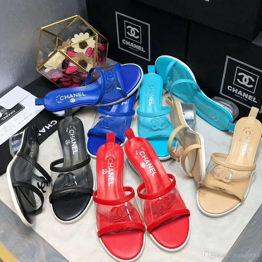Europe and the United States 2019 United States new plastic chain beach shoes candy color jelly sandals chain high heel sandals