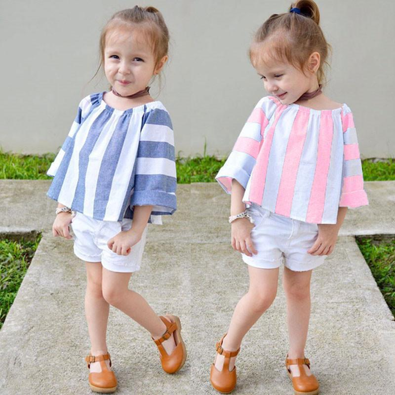 2019 New Arrival Summer Girls Fashion cute children girl's clothing set Striped top + short pants kids cotton clothes sets hot