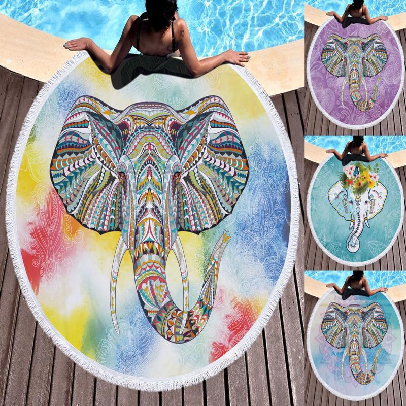 Acheter Serviette De Plage.Serviette De Plage Ronde Elephant De Boho Boho Indian Gland Tapisserie Tapis Floral Yoga Tapis Fleur De Lotus Toalla Couverture Le211