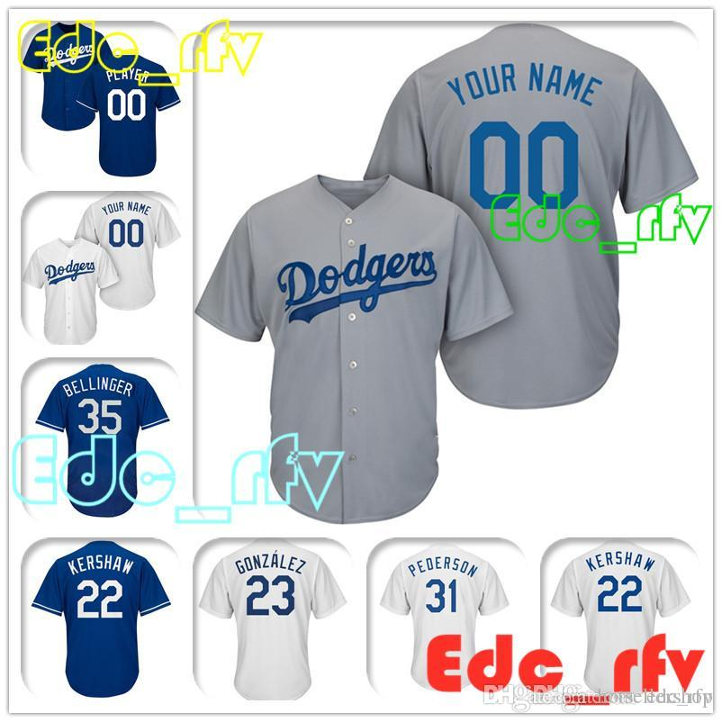 250a1c53 Los Angeles Dodgers Majestic Gray Cool Base Custom Baseball Jersey ...