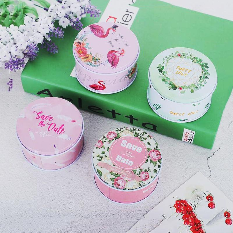 20pcs/lot Pastoral Style Flamingo Tin Box Metal Flower Series Tinplate gift packaging for Wedding Christmas gift boxes 7/6