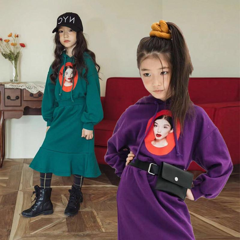 7292f966b1ec 2019 Autumn Girl Dress Hooded Long Sleeve Kids Clothes New Casual Children  Clothing Sashes Tutu Teens Dresses Teenagers Clothes CA138 From Ycqz3