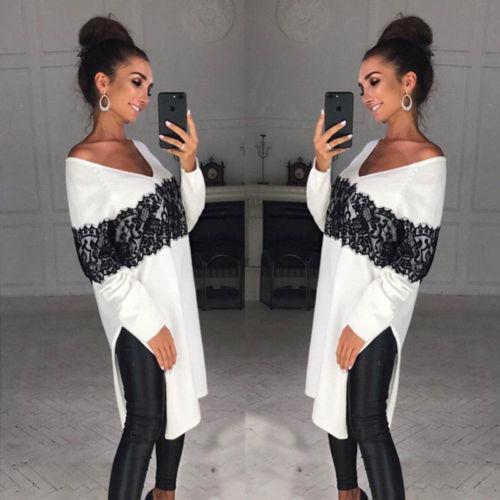 6edcec54c5bc8 Ladies Women Long Sleeve Casual V Neck Blouse Asymmetric Loose Lace Tops  Blouse UK 2019 From Jincaile04