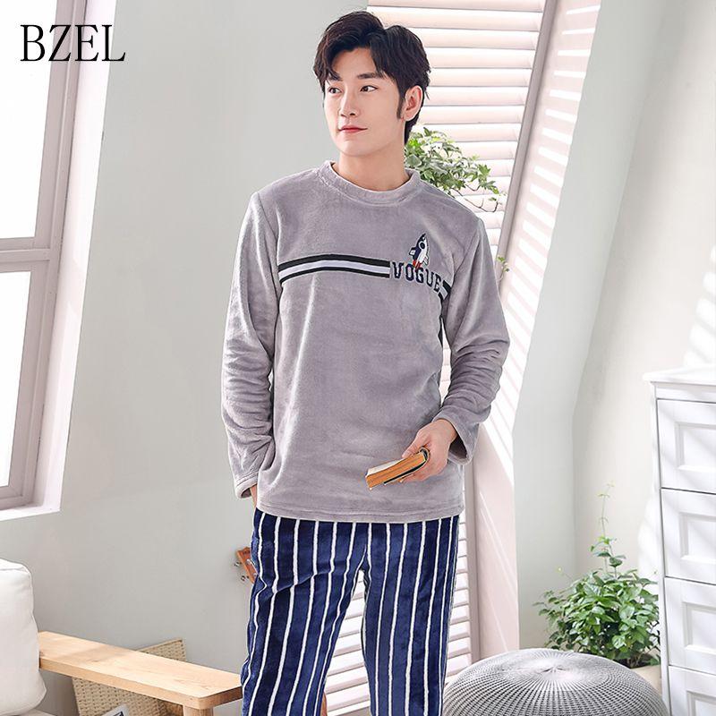 a3411fd625c6 2019 BZEL Men Flannel Pajamas Set Casual Home Clothing Winter Long Sleeve  Round Neck Cartoon Men S Sleepwear Pyjamas Homme Nightwear From Yuhuicuo