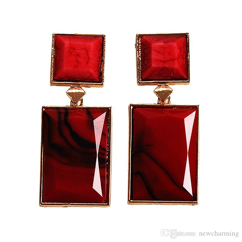 Fashion Jewelry Chinese Style Minimalist Resin Square Drop Earring Acrylic Geometric Dangle Earrings For Women 2019