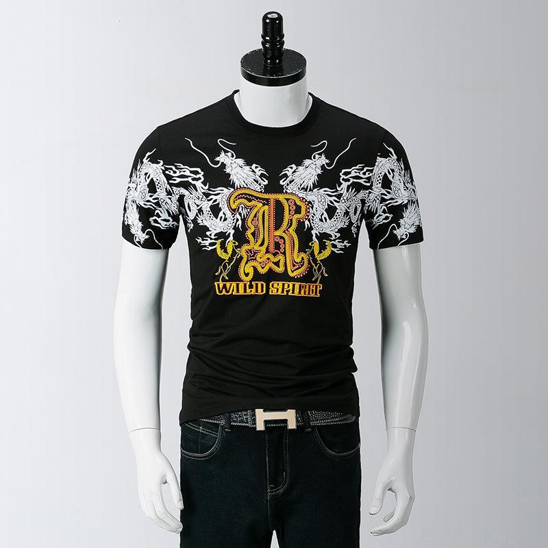 2a7cf44a38e76f Großhandel Mens Designer T Shirts Männer Kurzarm Chinesischen Stil Drachen  Druck Bestickt Rundhals T Shirt Dünne Mode Gezeiten Halbe Hülse T S Von  Mizon568