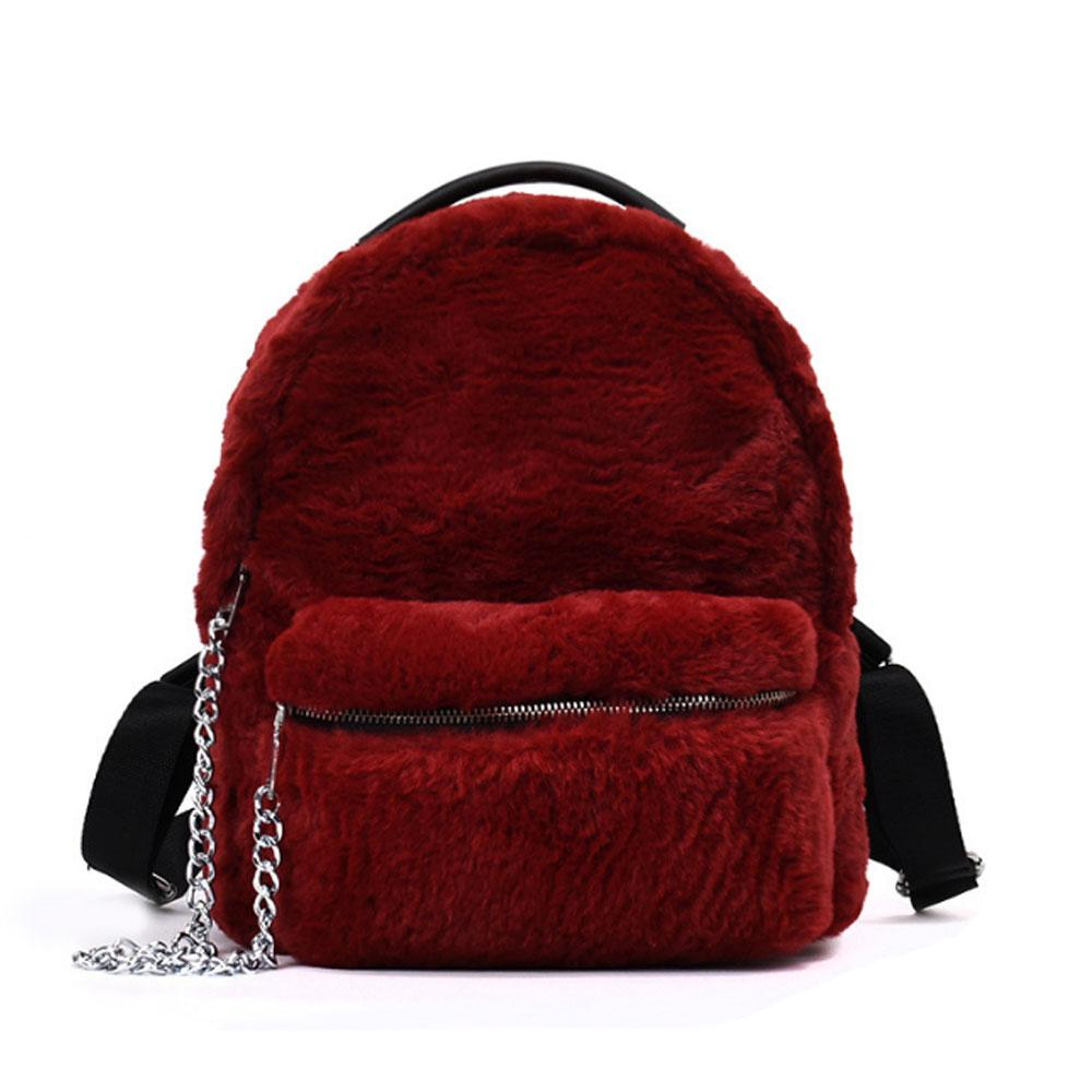 39ce80ad4133 Women Backpack Ladies Faux Fur Small Red Travel Rucksack Female Chain Back  Pack High Quality Women New Backpack A2971 Bags Rucksack From Maxtext04