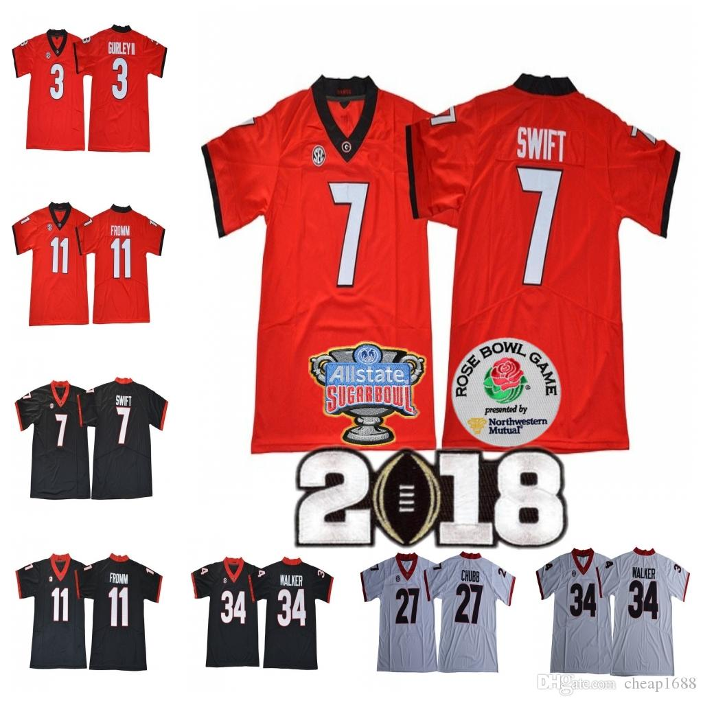 2019 UGA Georgia Bulldogs  7 DAndre Swift 3 Todd Gurley II 27 Nick Chubb 10  Malik Herring Championship Sugar Bowl Jersey From Cheap1688 761ac99a5