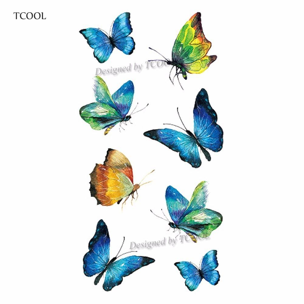 TCOOL Butterfly Women Temporary Tattoo Sticker Tattoos for Men Fashion Body Art Kids Children Hand Fake Tatoo 10.5X6cm A-203