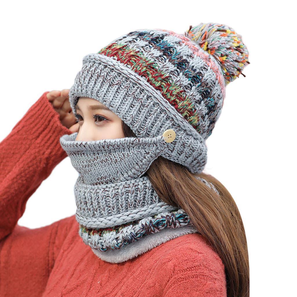 Compre Moda Mulheres Crochet Malha Gorro De Lã Com Máscara De Cachecol Gorro  Quente Fleece Ski Cap Mulheres De Malha Cap Chapéu Quente Do Inverno 10 De  ... 99d5f61cde6
