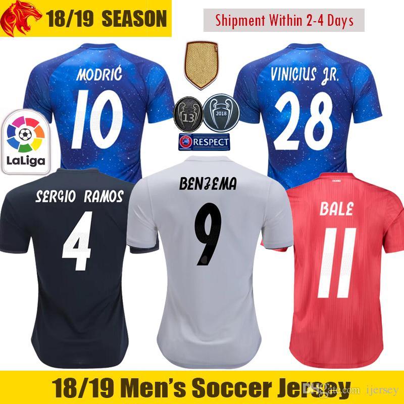 849fc9db2 Compre 18 19 Real Madrid Camisa De Futebol BENZEMA 2018 2019 BALE MODRIC  Camisa De Futebol 13 Campeão Real Madrid CASEMIRO Camisa RAMOS VINICIUS JR.