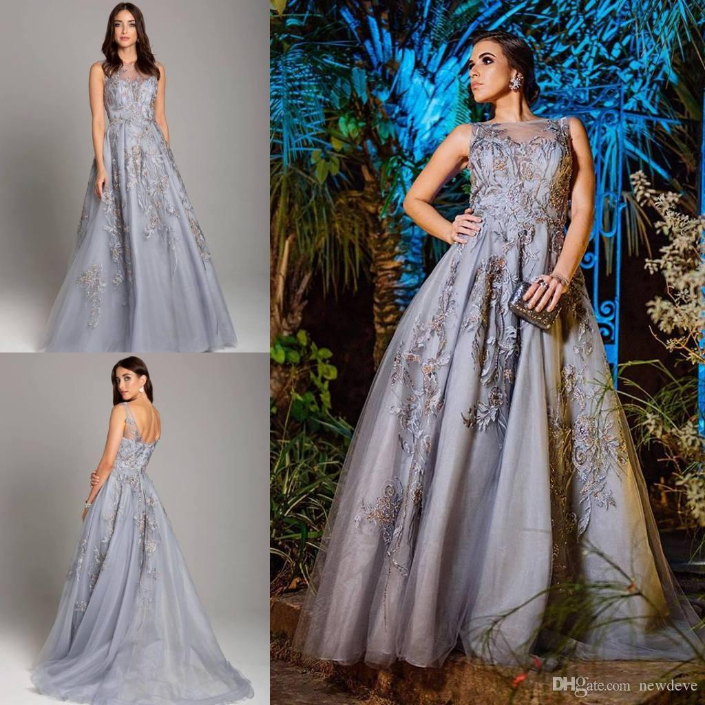Weddings & Events 2019 Fashion Fashion Arabic Star Sparkle Long Sleeve A Line Deep V-neck Beaded Splite Side Celebrity Dress 2018 Grey Lace Sexy New Arrival