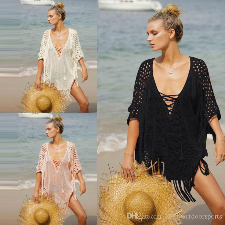 fc0d626153 2019 2019 New Crochet Knitted Beach Cover Up Tunic For Beach Dress Swimwear  Women Swimsuit Pareos Bikini Cover Up Sarong Bathing Suit Cover Ups From ...
