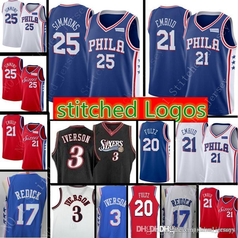 8c1aba3aa6f2 2018 21 Joel Embiid Philadelphia New 76ers Jersey Mens 25 Ben Simmons 17  Redick Retro Mesh 3 Allen Iverson Basketball Jerseys From Xmm jerseys