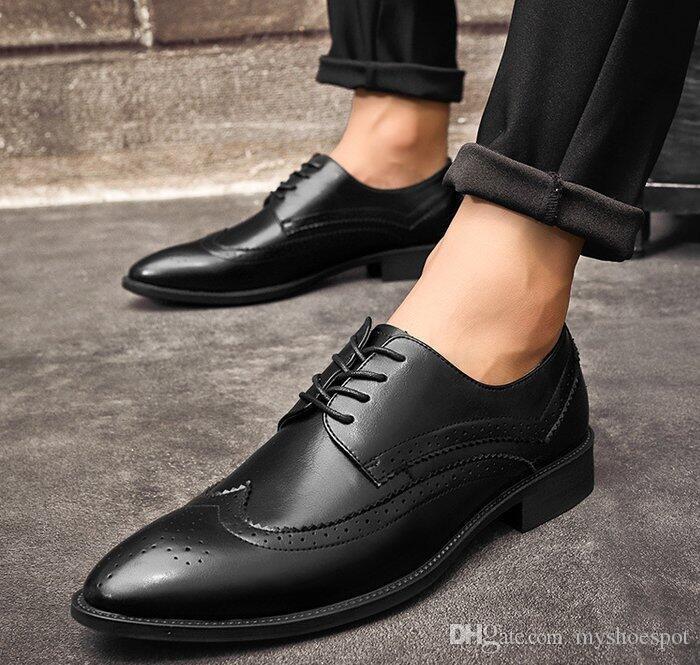 49e75dbbe Compre Homens De Couro Ventilação Escultura Negócio Casual Sapatos ...