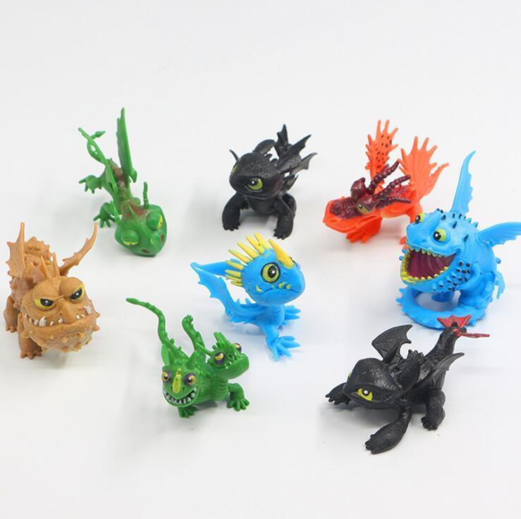 8pcs/set How To Train Your Dragon 3 PVC Figure Toys Hiccup Toothless Skull Gronckle Deadly Nadder Night Fury Novelty Items CCA11310 10set