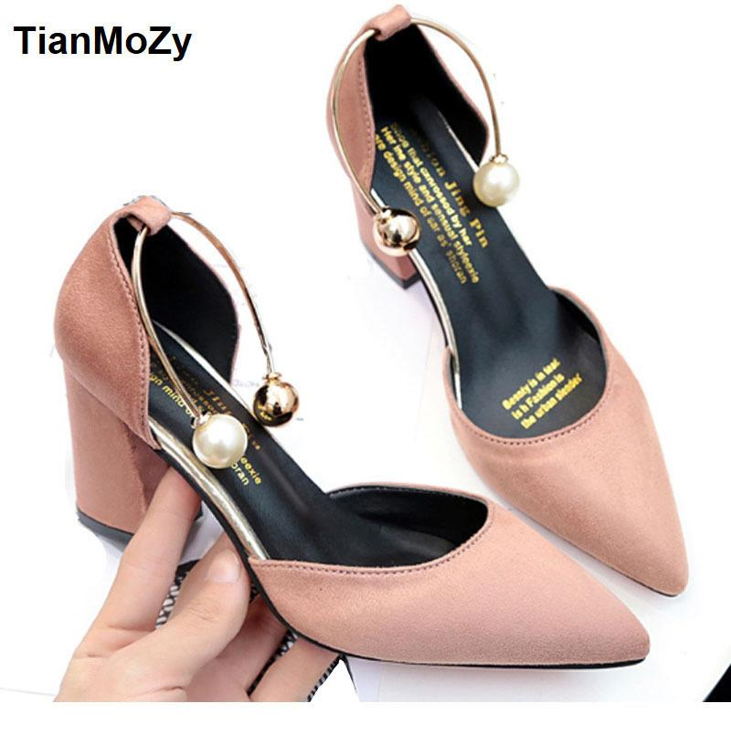 2e3c6e7bde6 2019 Women Sandals High Heels Summer Women Shoes Gladiator Sandals Block  Heels Pearl Strap Women Pumps Chunky Heels Shoes Tennis Shoes Oxford Shoes  From ...