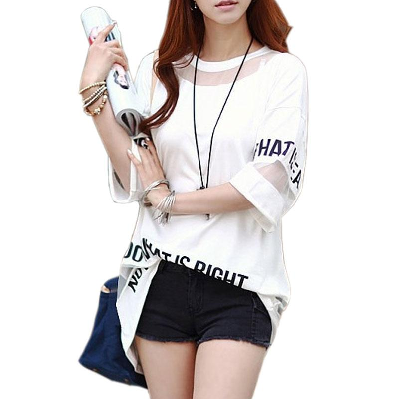 69341799b8a 2018 Big Size T Shirt Women Summer Tops Half Sleeve Fashion Hollow Out  Letter Printed Long Mesh Tops Female T Shirt Tees Mens Funny T Shirts Buy  Shirts From ...