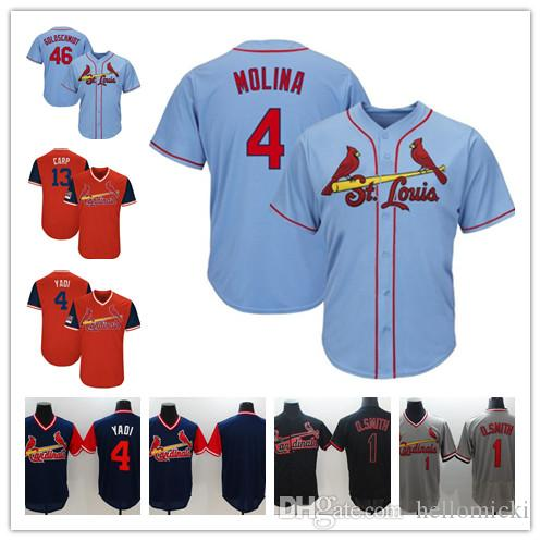 release date: 9ca31 383ed Baseball jerseys St. Louis Paul Goldschmidt Cardinals 1 Ozzie Smith 4  Yadier Molina Mens 2019 Baseball stitched Jersey