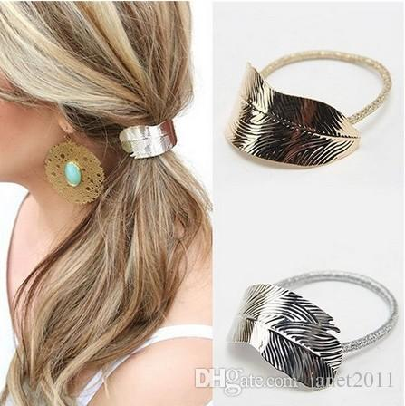 Fashion Metal Leaf Hair Band Rope Elastic Hair Ties Hair Cuff Wrap Ponytail Holder For Girls/Ladies( Gold, Silver)