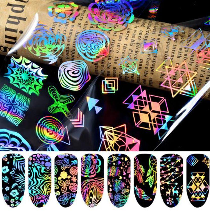 Holographic Laser Nails Transfer Foil Stickers Mix Pattern Manicure